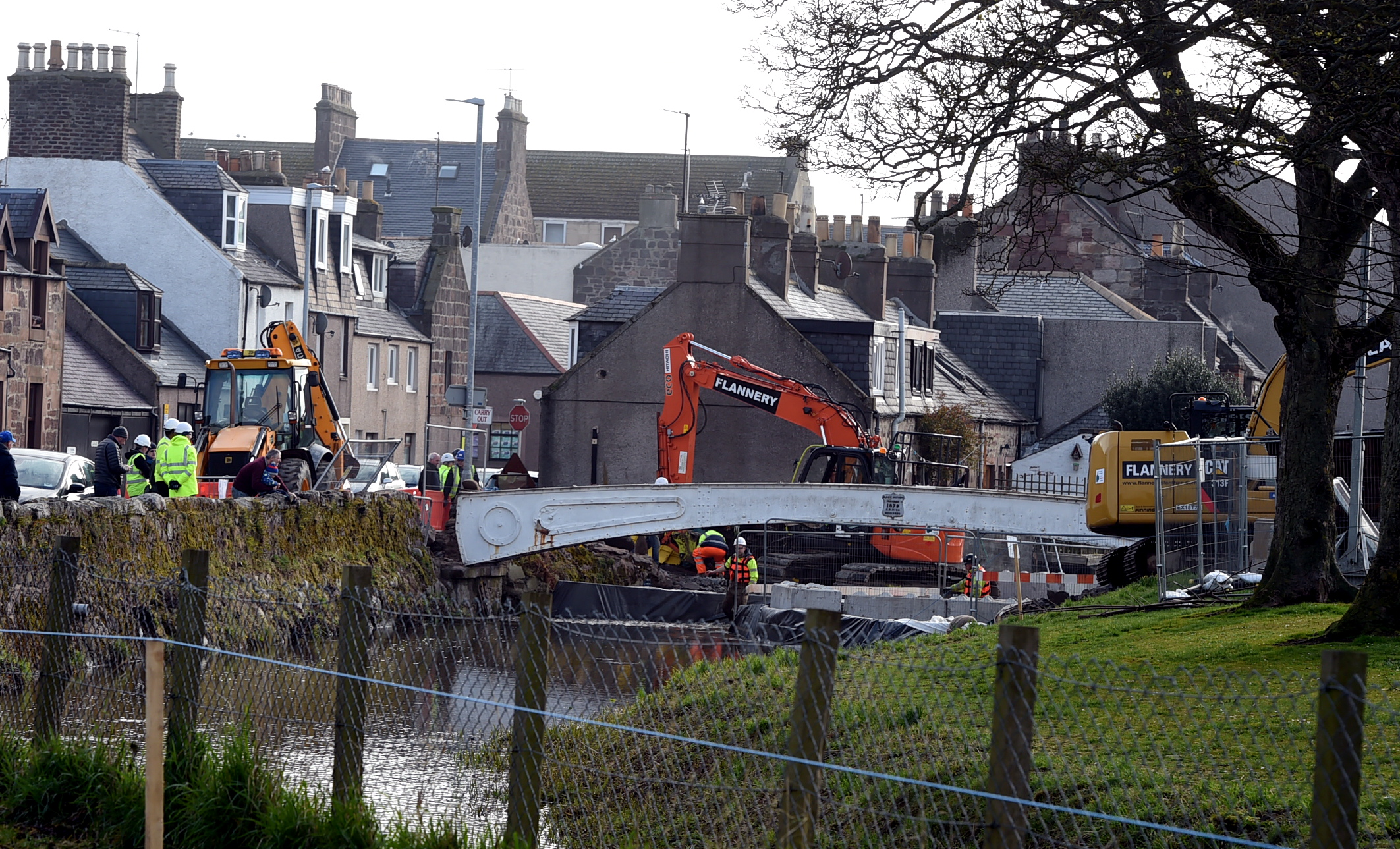 The White Bridge in Stonehaven being removed at Cameron Street/Ann Street junction