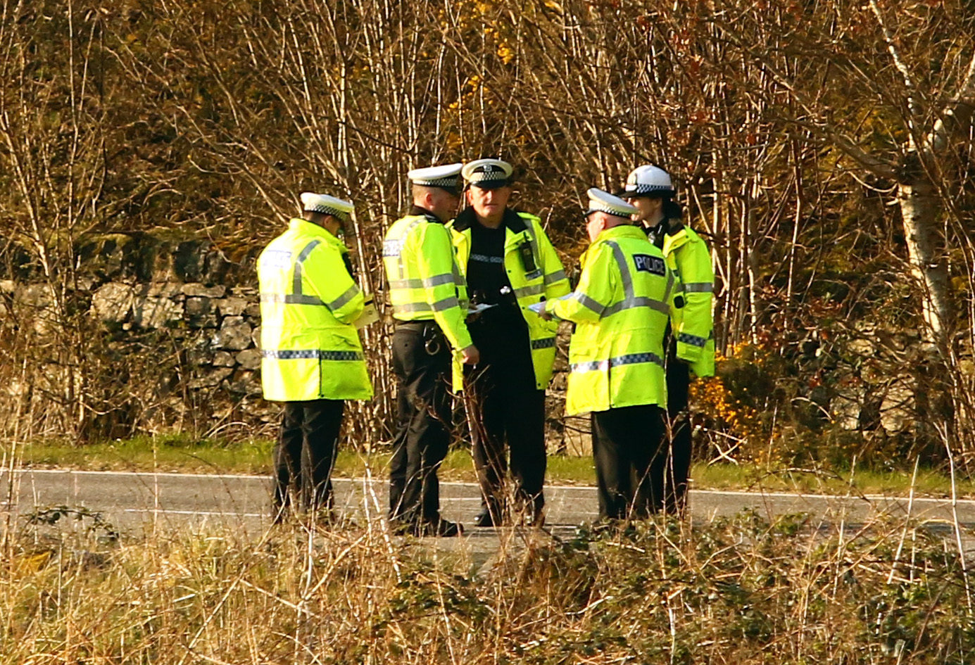 Police officers at the scene of the crash.