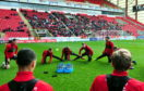 Aberdeen FC training in front of the supporters at Pittodrie, Aberdeen.  Pictures by Jim Irvine