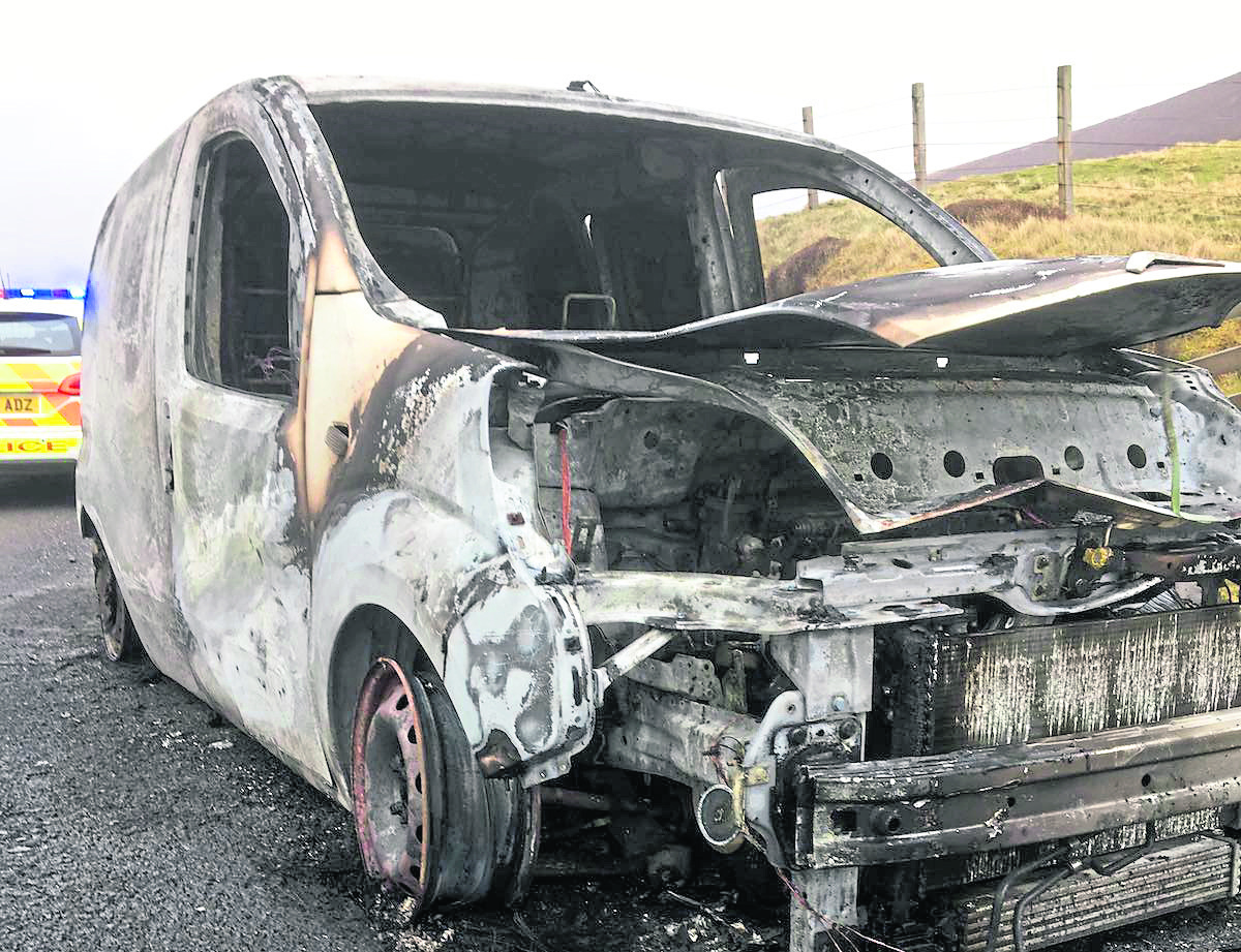 Lynn Johnson, from East Burrafirth, was driving on the A971 just north of Weisdale last Thursday when the engine of her Citroen Nemo van started cutting out and eventually stopped altogether.