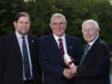 Conferring of honorary fellowship to Dennis MacLeod, UHI benefactor; 25 August 2009 (Bob Cormack, Dennis MacLeod, Colin MacKay)