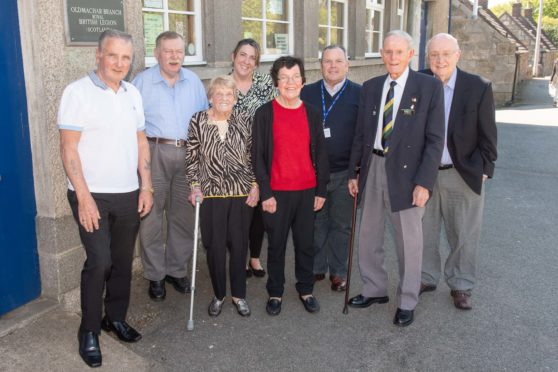 Pictured at the Veterans Lunch at Old Machar British Legion Branch are (l to R) Matt Fyfe, Andy Duncan, Vera Milne, Emily Clark, Therese Wilson, Tom Douglas, Jim Glennie, Rex Smart   Picture by Abermedia / Michal Wachucik