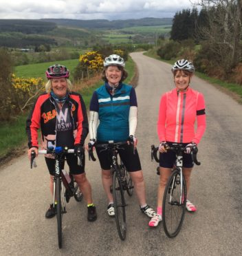 Three of the organisers of the Abbie's Sparkle Rides testing out the 50km route near Rafford, Moray. (Sheila Scott, Diane Maciver and Linda Smith) The ride raises funds for Abbie's Sparkle Foundation