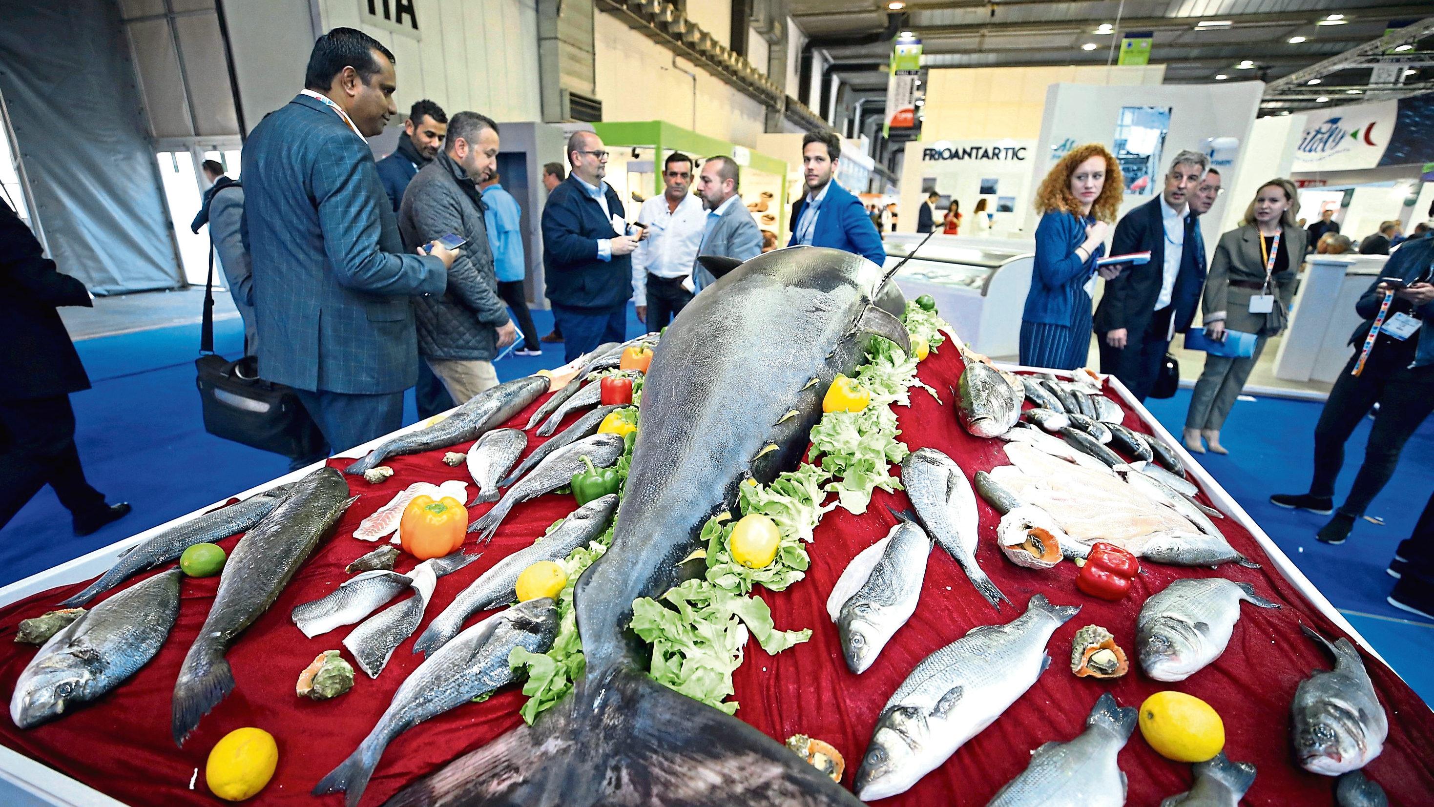 "People visit ""Seafood Expo Global"" in Brussels."