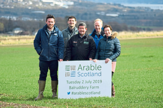 Chris Leslie (AHDB), David Young (James Hutton Institute), Keith Brand (Hutchinsons), Adrian Newton and Pam Cassidy (James Hutton Institute)