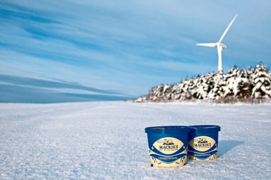 Mackie's Ice Cream tub with snow and turbines