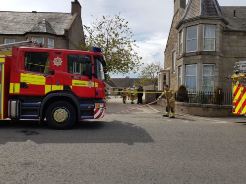 A fire engine outside the home in Ellon