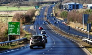 The A96 at Blackburn, on the Aberdeen to Inverurie stretch.
