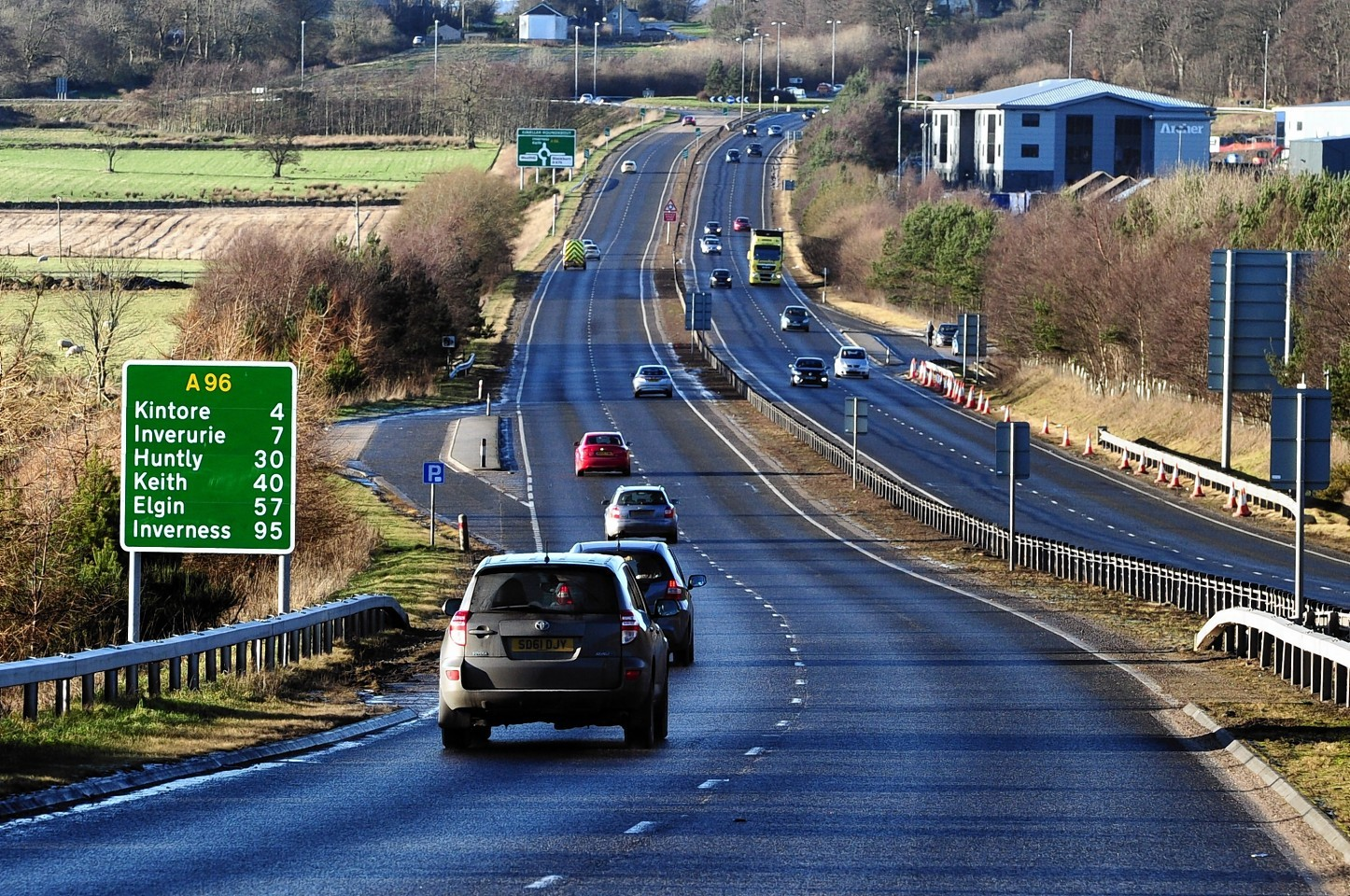 The A96 as it approaches Inverurie.