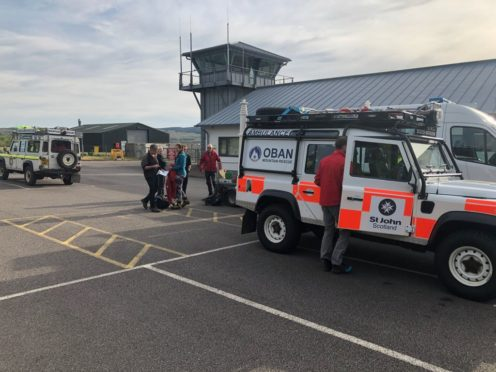 Rescue teams at Oban Airport.  Pic @ObanMRT twitter page