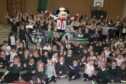 ToBi the Tour Series mascot travelled to Stoneywood primary School in Aberdeen to promote the Tour Series bike race