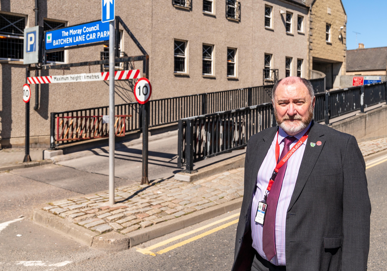 Elgin City South councillor John Divers outside the Batchen Lane car park.