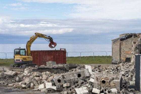 The Beach Bar being demolished.