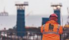 Workers look out over the yard at BiFab in Methil