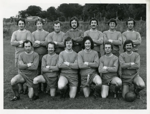 Cove Rangers in 1979. Back row (left to right) - Webster, Fyfe, Rose, B. Simpson, Riddel, Mutch, C. Simpson. Front - A. Birss, Mathers, McCurruch, Napier, Christie, Morrice.