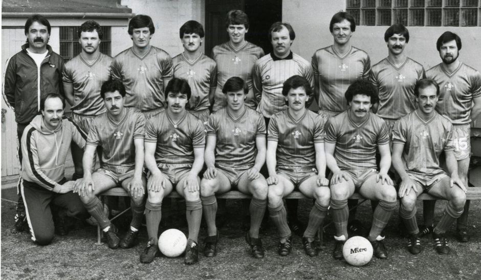 """Cove Rangers, 1983. Back row (left to right) - D. Notman (manager), S. Rose, A. Anderson, W. Daniel, P. Freeland, W. Rose, R. Bain, L. Simpson, K. Massie. Front - D. Sutherland, W. Leask, G. Turnbull, M. Kennedy, B. Johnston, D. Smith, N. Henderson."""""""