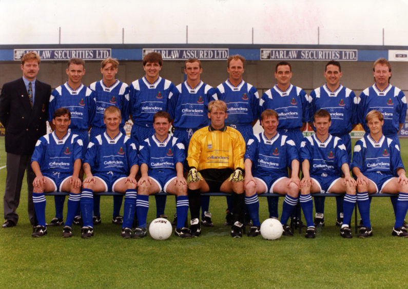 """Cove Rangers (from left)...Front: Graeme Park, Dave Morland, Doug Baxter, Arch McLean, Alan Leslie, Michael Beattie, Tommy Forbes. Back: manager Kenny Taylor, Bruce Morrison, Ritchie Clark, Andy Paterson, Mark Murphy, David Caldwell, David Whyte, Ray Lorrimer and Ray Stephen."""" Picture taken 31 August 1994."""