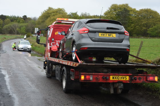 A recovery vehicle removed the car from the road.