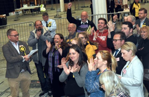 European Parliamentary Elections  2019 count at the AECC.  Pictured is the Aberdeenshire count results.  Picture by HEATHER FOWLIE