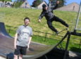 The Banchory Skatepark Group  are welcoming any donations. Pictured are Russ Crichton chairman of the group using the ramp and Bruce Skinner a committee member Pic by Chris Sumner