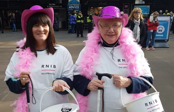 Elizabeth O'Hara (left) is urging others to raise funds for the RNIB.