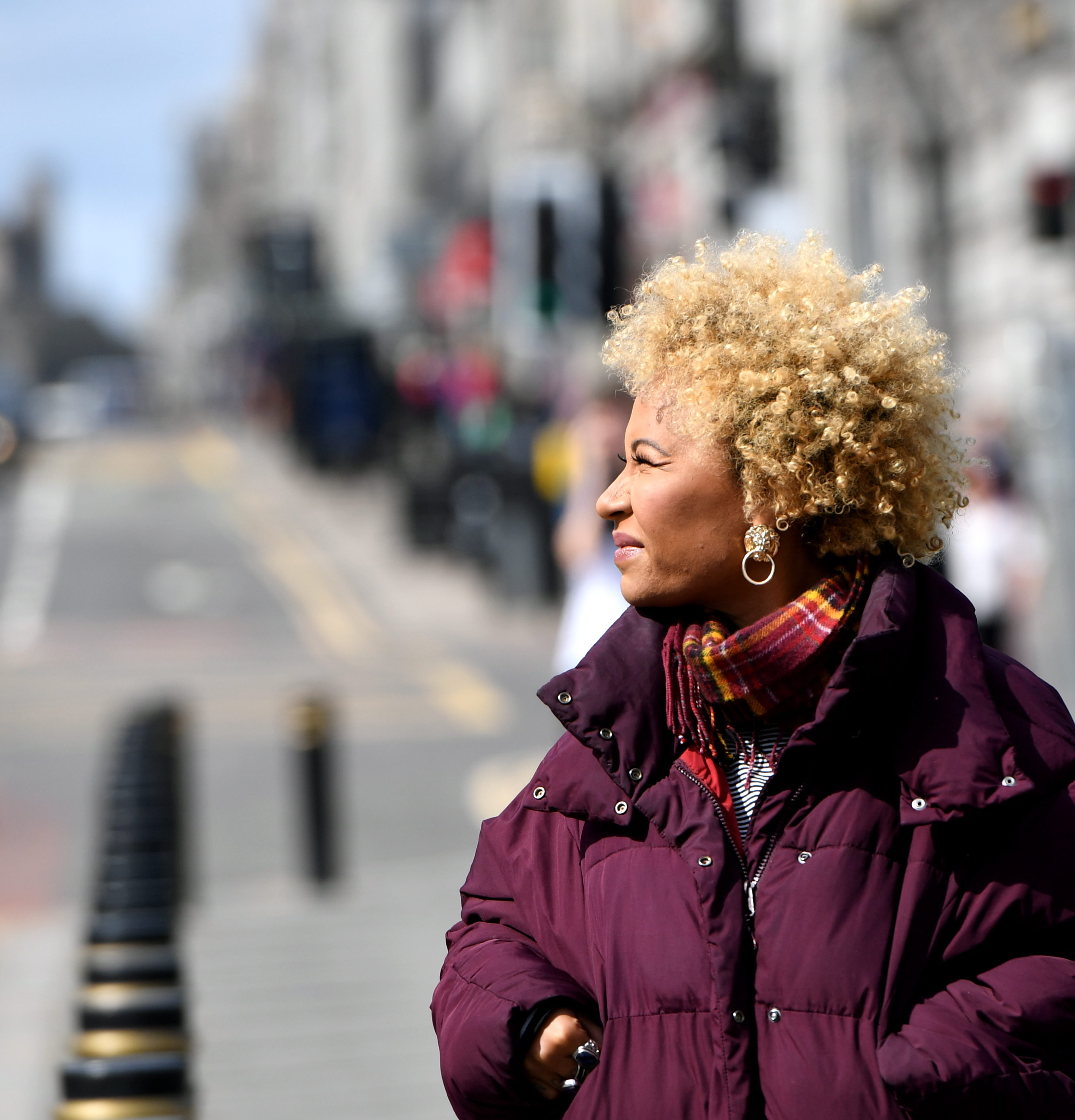 Emeli Sande takes in the sights of Union Street, Aberdeen. Picture by Scott Baxter