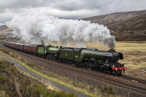 The Flying Scotsman passed by Blair Atholl in 2019. Picture by Alastair Bellamy