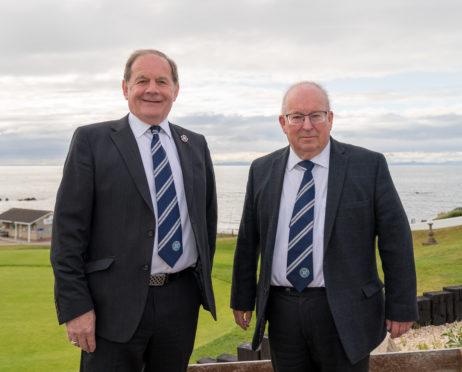 Highland secretary Rod Houston, right, alongside Highland League president Raymond Cardno.