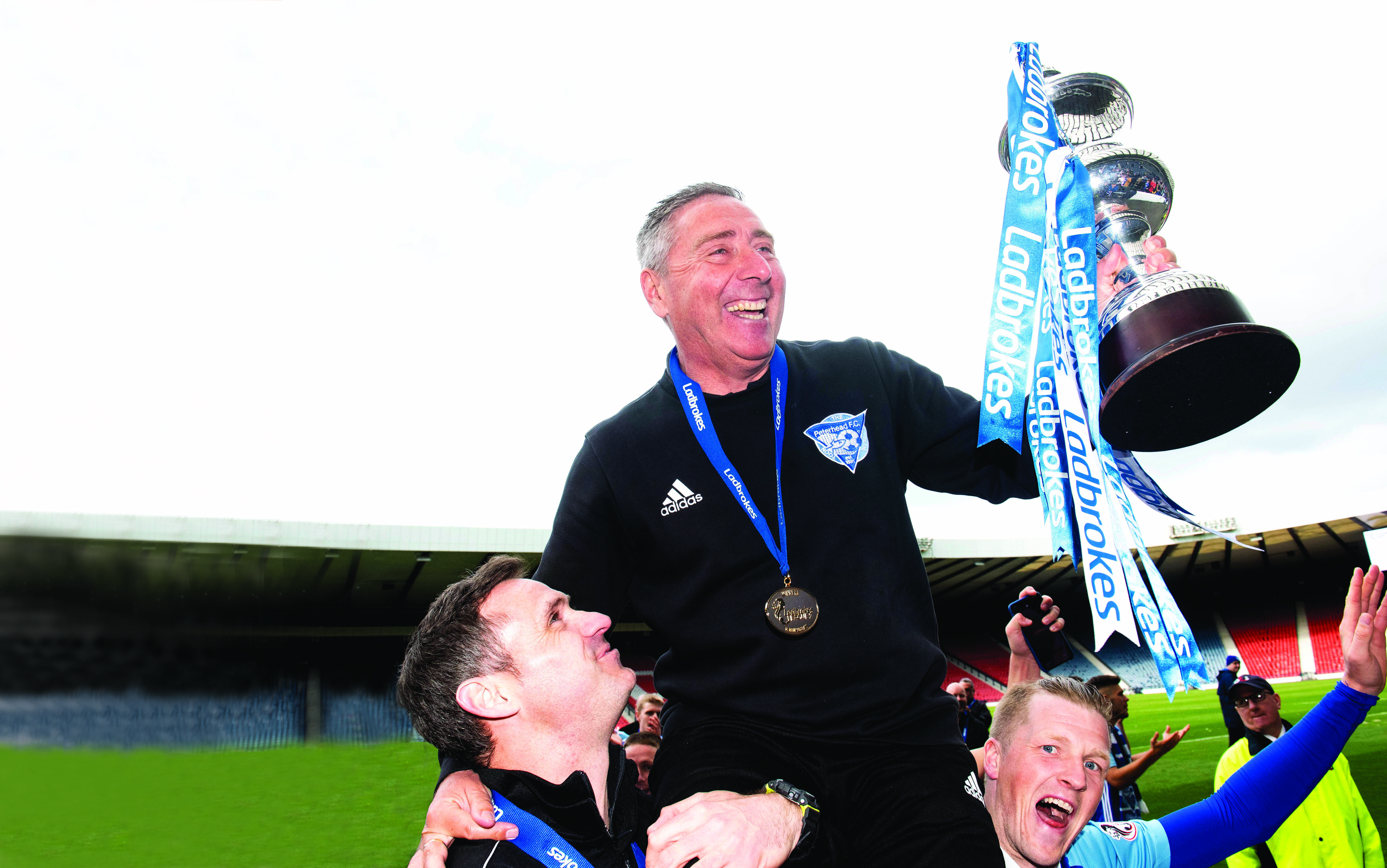Peterhead manager Jim McInally with the League 2 title.