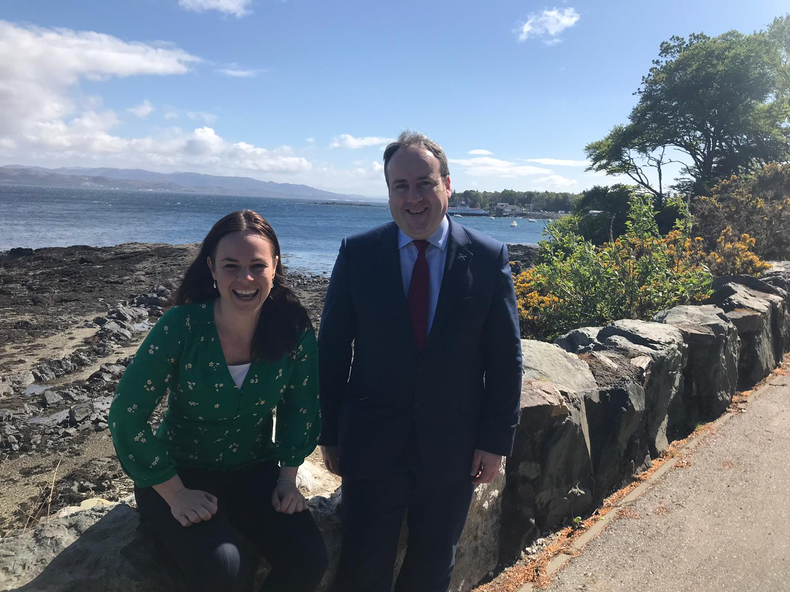 Kate Forbes MSP with Paul Wheelhouse, minister for the islands, near to the Armadale ferry terminal yesterday