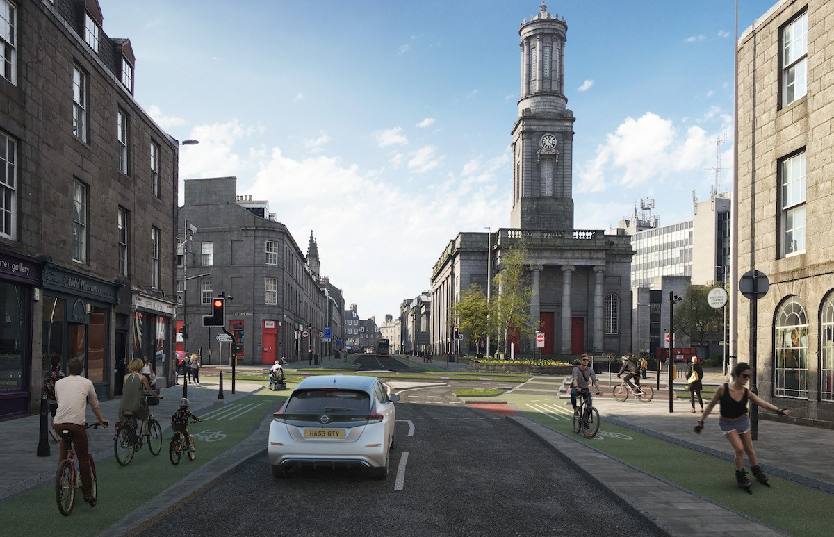 Aberdeen Cycle Forum's visualisation of a future, bike-friendly King Street.