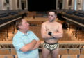 Aberdeen Music Hall. Former wrestler Len Ironside with his protégé Samuel Wilson aka Leo King, who has been training in America at a WWE academy. CR0009451 17/05/19 Picture by KATH FLANNERY