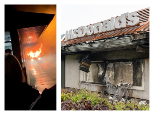 The car on fire, left, and the scene the following day. Image on the right by Jasperimage