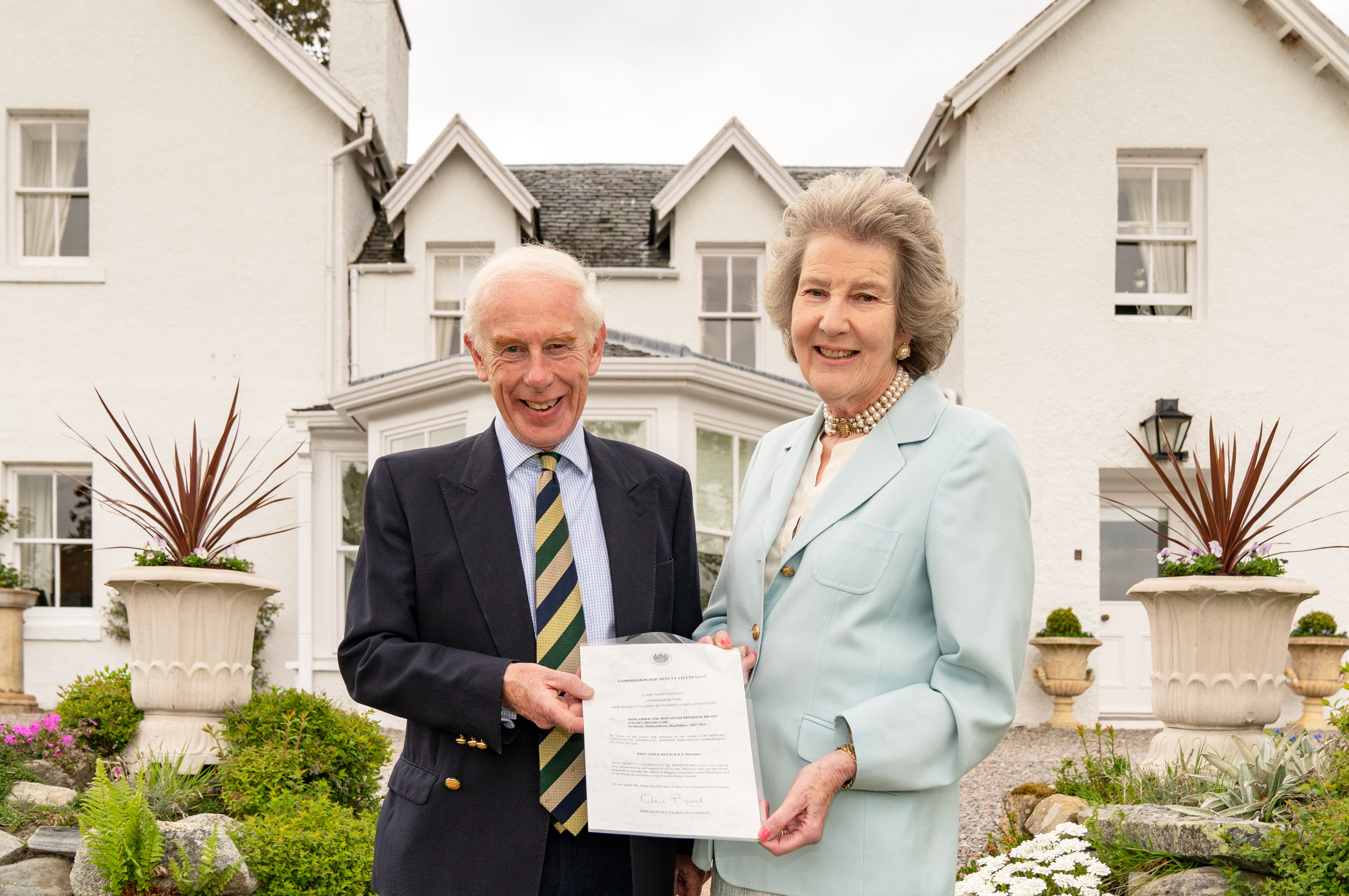 Brigadier Hugh Monro being enrolled as Deputy Lord Lieutenant by Lord-Lieutenant of Banffshire, Mrs Clare Russell.
