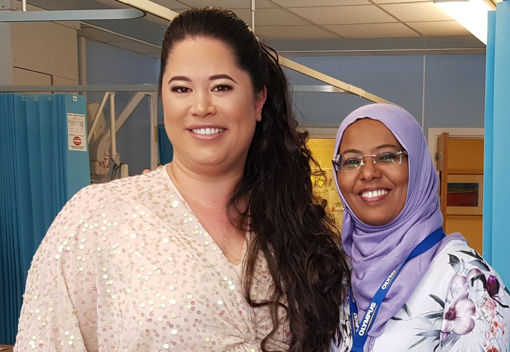 Erin Peak with Dr Salma Saad, consultant in obstetrics and gynaecology, ready for her big day.