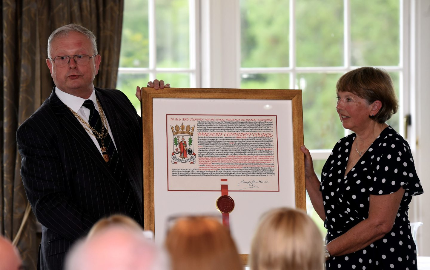 Presentation of new Coat of Arms to Banchory Community Council. Picture by Heather Fowlie.