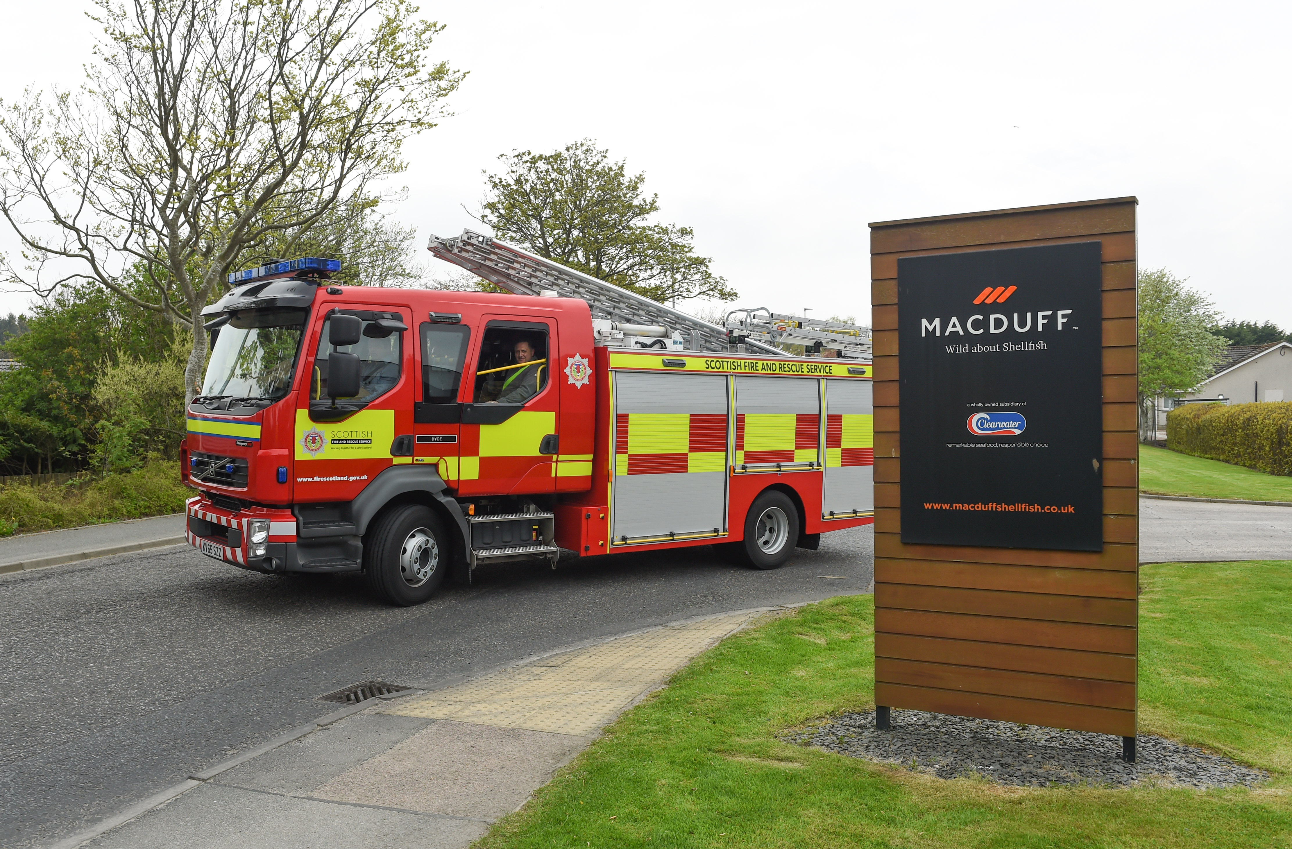 Fire crews leaving the scene of the ammonia gas leak at Macduff Shellfish in Mintlaw, Aberdeenshire, in May