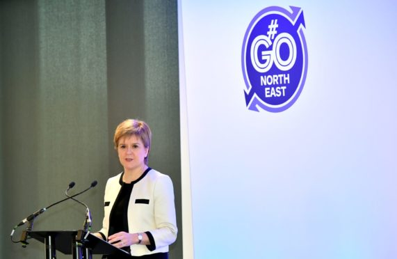 First Minister Nicola Sturgeon visited, Aker Solutions, Dyce, to highlight the benefits of the AWPR. Picture by Kami Thomson