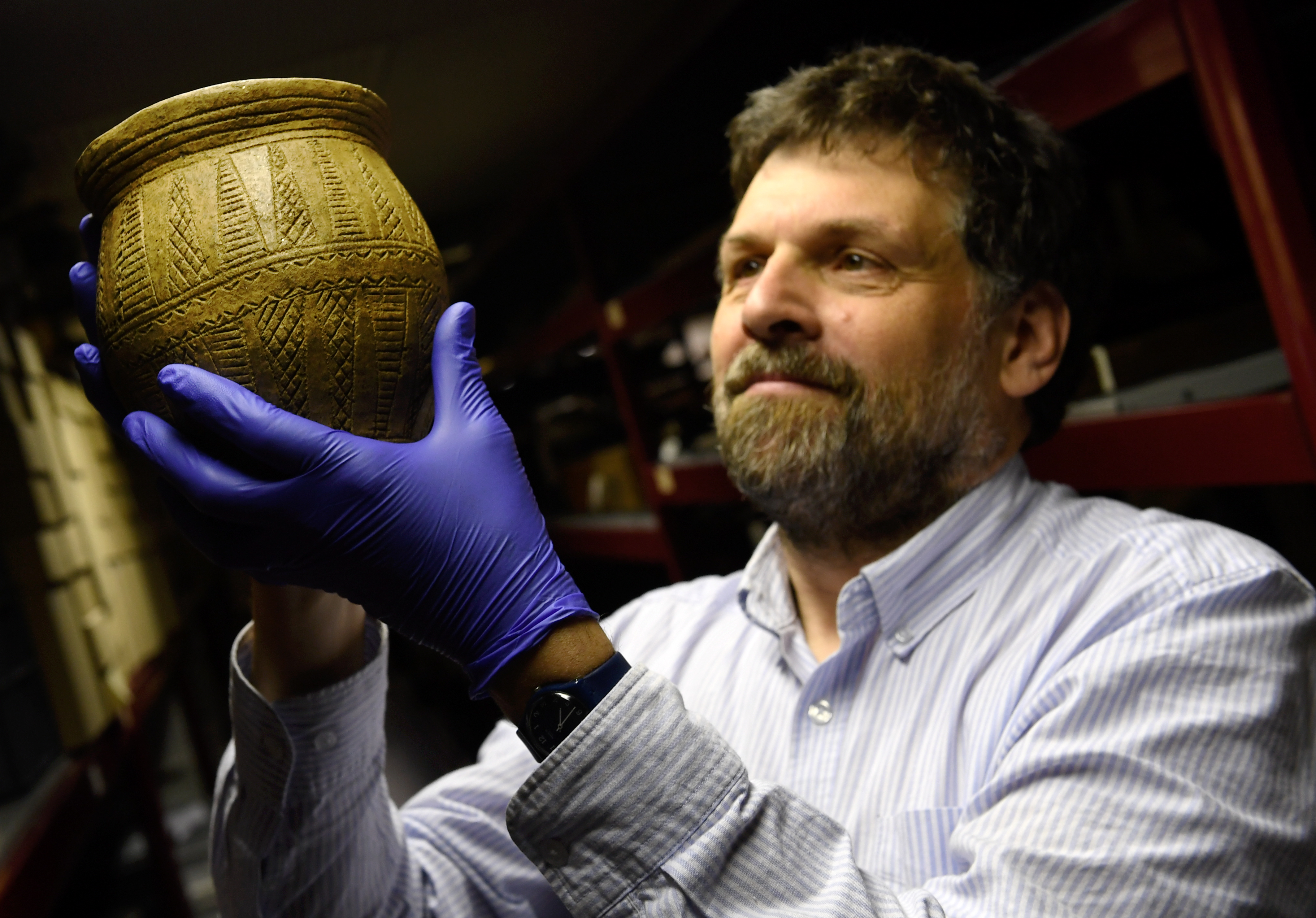 University of Aberdeen Head of Museums and Special Collections Neil Curtis, is taking the Troup Beaker back to Gardenstown near where it was found for a talk on friday evening.       Picture by Kami Thomson    29/05/19
