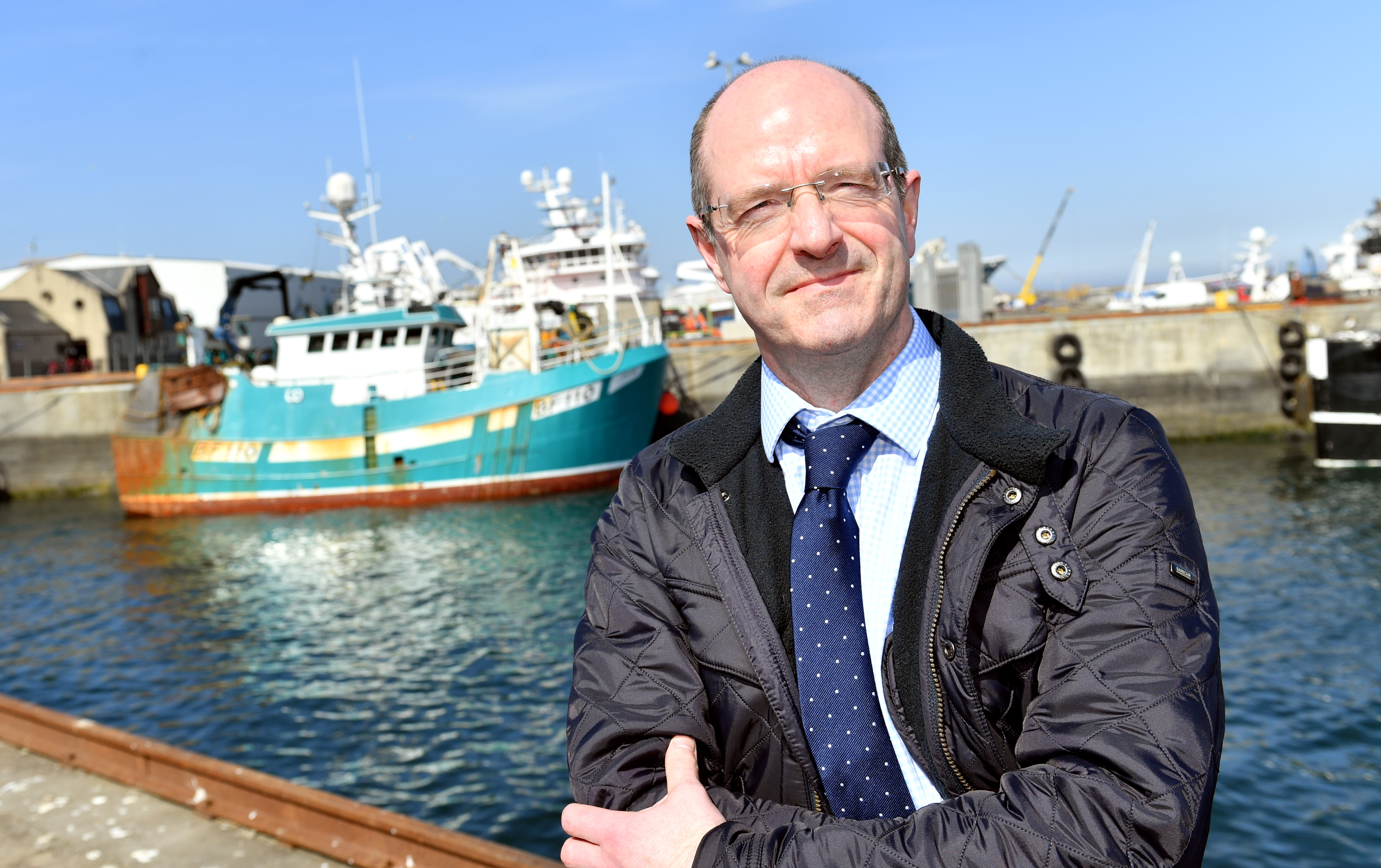 Michael Murray (convener) at Fraserburgh harbour.        Picture by Kami Thomson