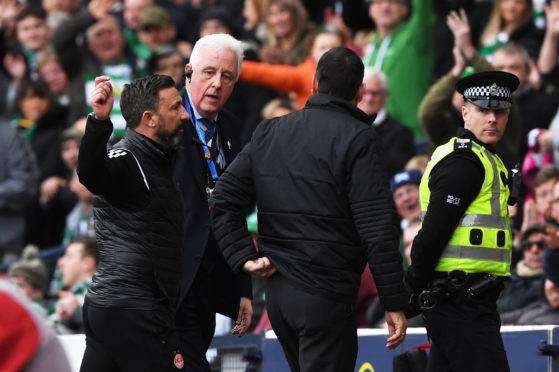 Derek McInnes was sent to the stands in the Scottish Cup semi-finals.