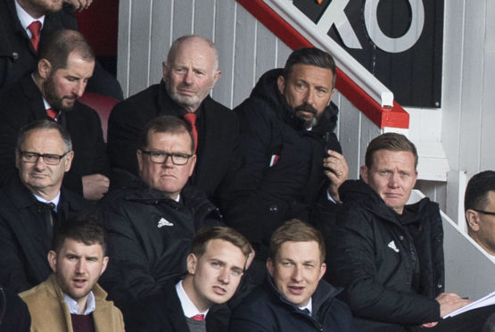 Aberdeen chairman Stewart Milne, left, with manager Derek McInnes.