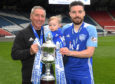 Peterhead manager Jim McInally and Ryan Dow celebrate promotion to Ladbrokes League 1.
