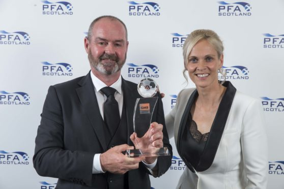 Manager of the year Kilmarnock's Steve Clarke presented by Shelley Kerr during PFA Scotland Player of the Year Awards at Glasgow Hilton.