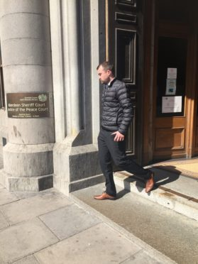 Stuart Wilkie leaving Aberdeen Sheriff Court