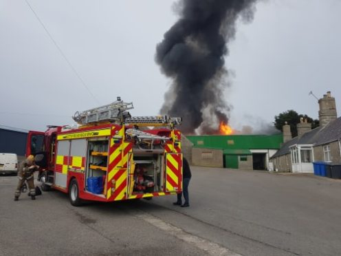 The scene of the fire earlier today. Picture by Connall Bain.