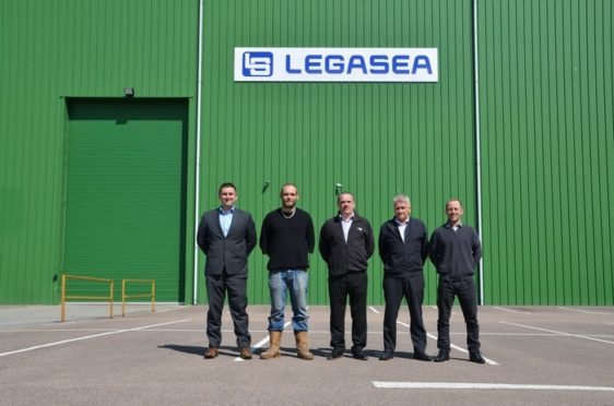 The team at Legasea. From left; Ray Milne (Operations Director); Chris Howley (Service Technician); Lewis Sim (Managing Director); Graham Petrie (Projects Supervisor); Chris Moffat (QHSE Supervisor).