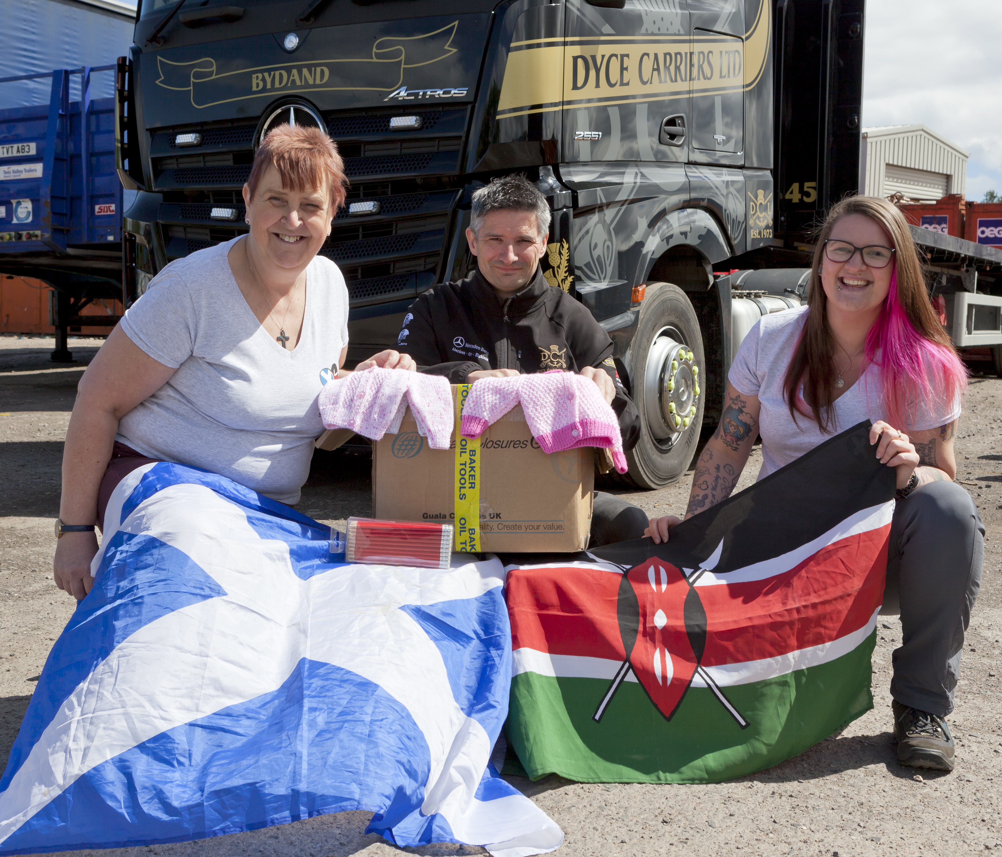 Moyra Cowie, Dyce Carriers managing director Jason Moir and Rachel Lewis.
