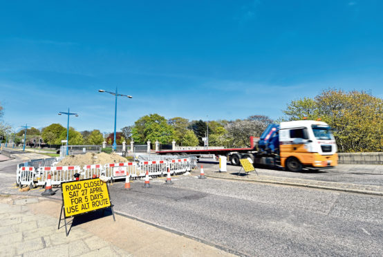 The roadworks at the roundabout at Duthie park.