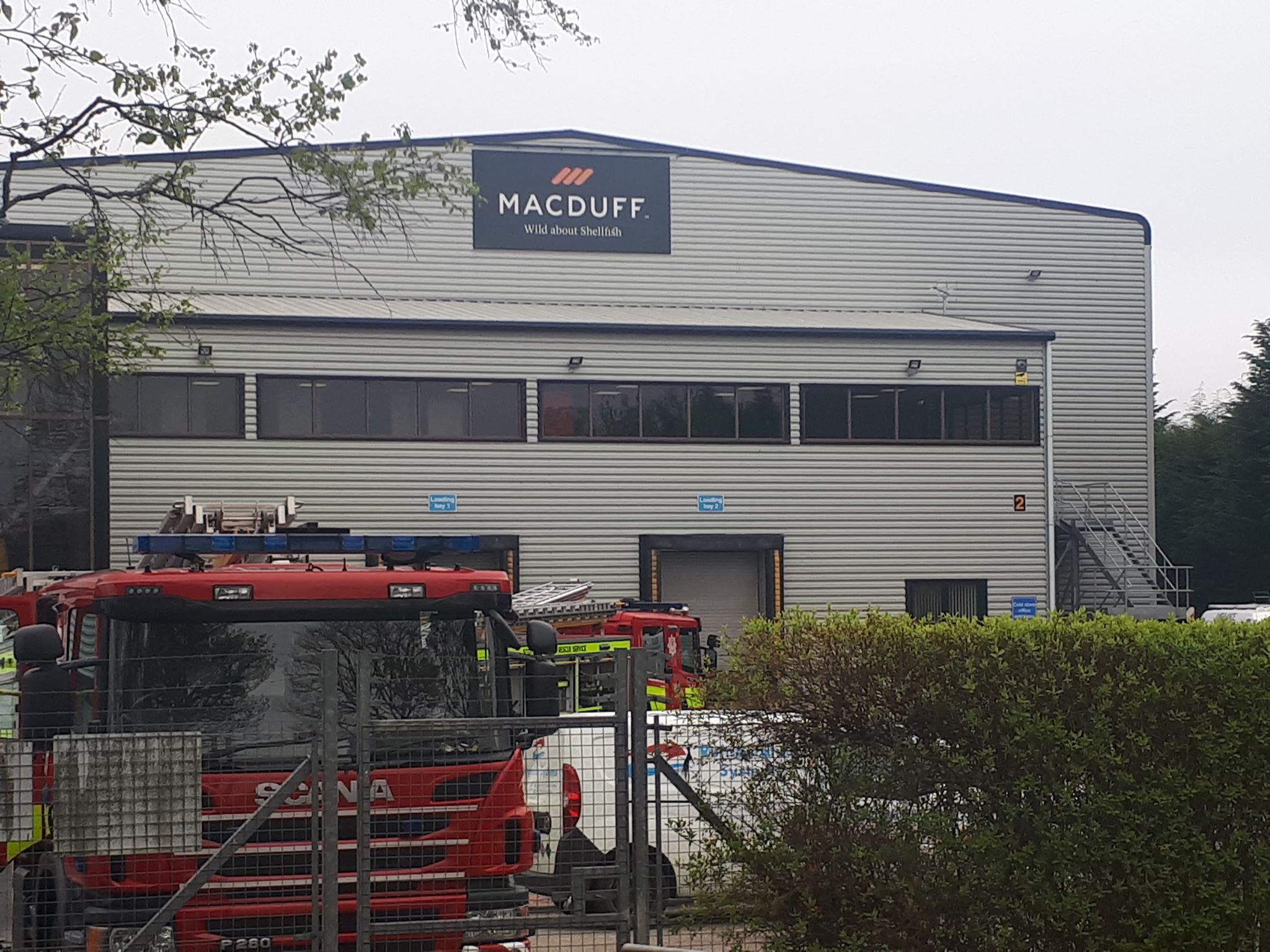 Macduff Shellfish on Station Road, Mintlaw, during the evacuation